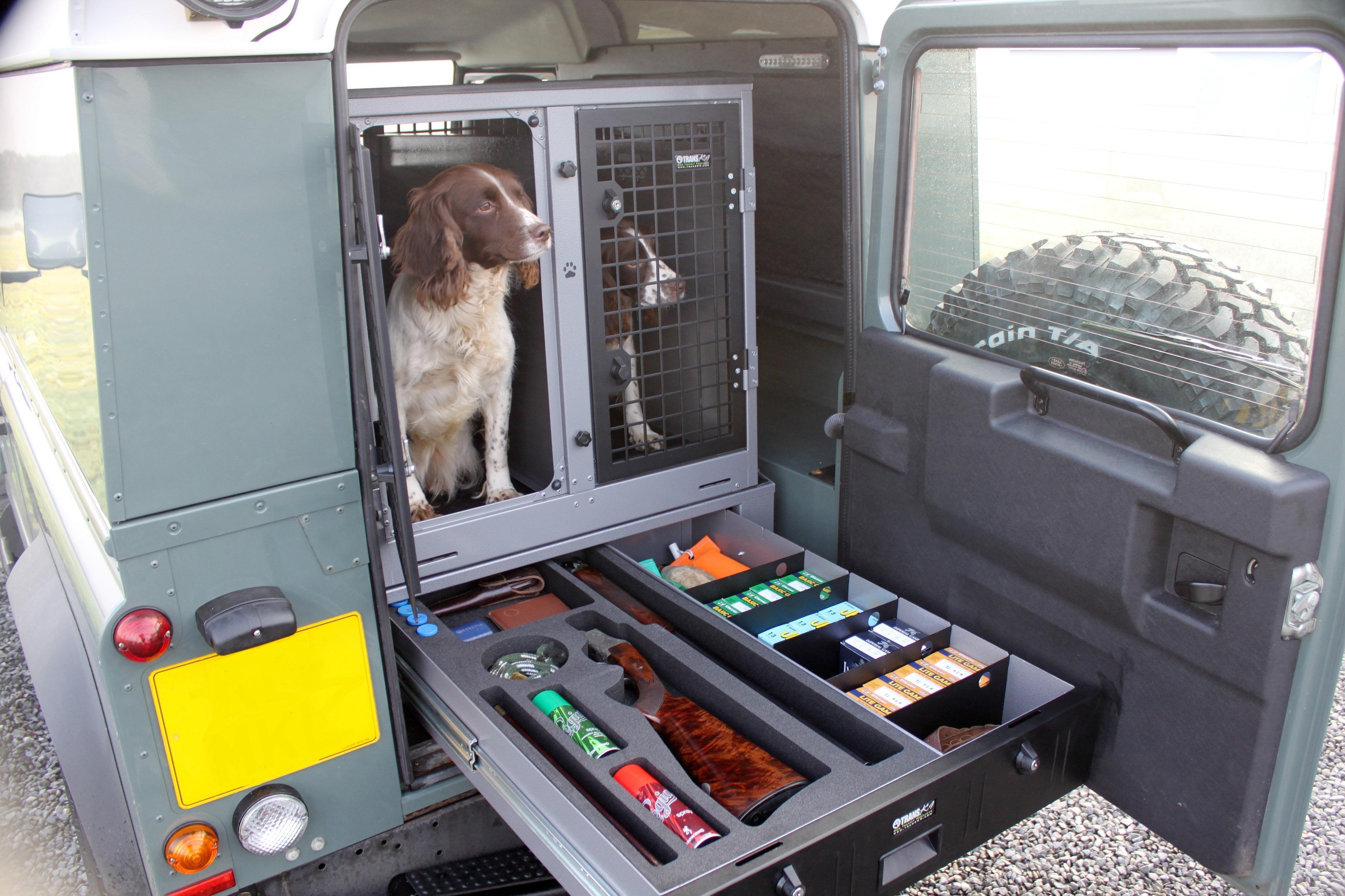 Transk9 B8 Land Rover Defender Dog Transit Box Dog Cage Dog Crate Www Transk9 Com Umbau Autos Jagd