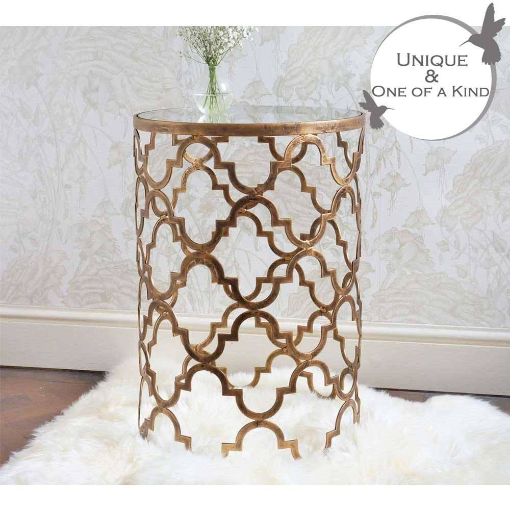 Quatrefoil Metal Side Table Side Table Metal Side Table Decor French Bedside Tables