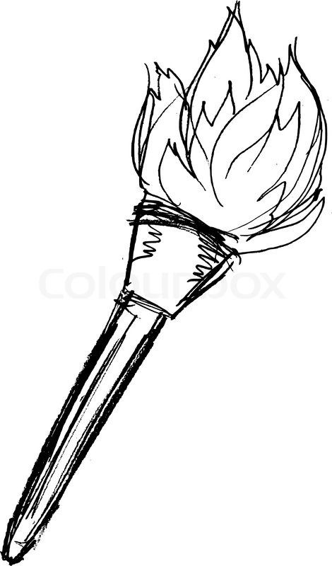 sketch of wooden torch