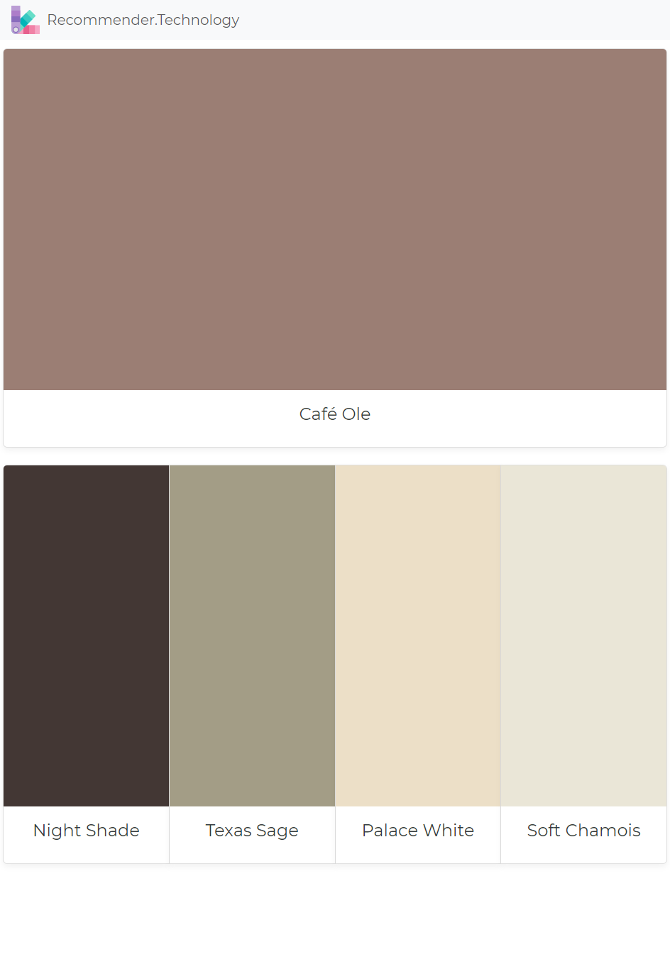 Café Ole Night Shade Texas Sage Palace White Soft Chamois Paint Color