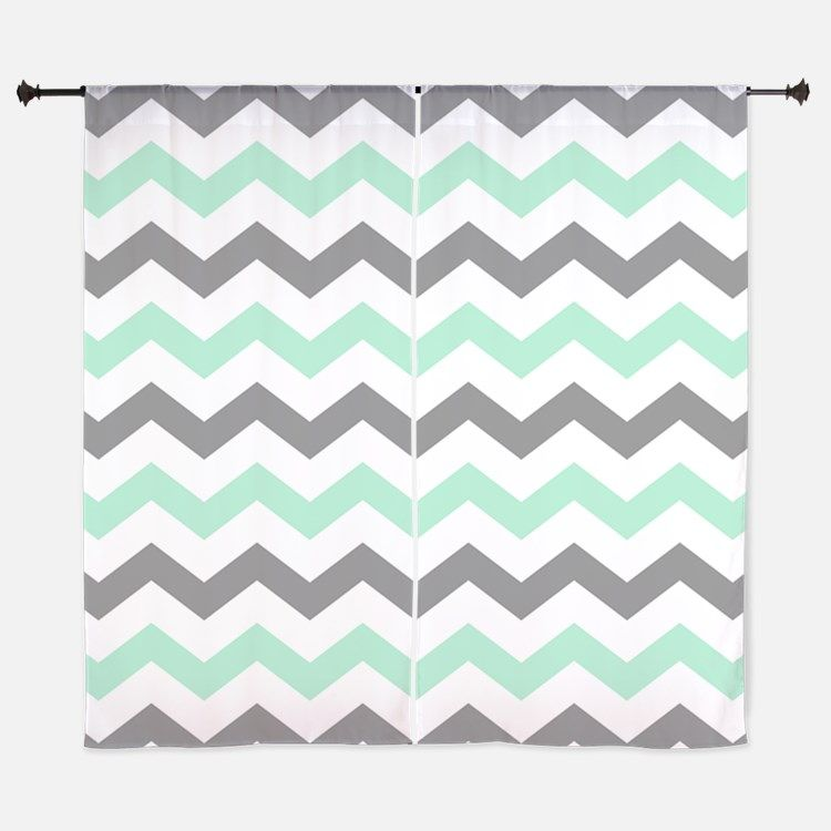 Mint and Gray Chevron Pattern Curtains for | Curtains | Pinterest ...
