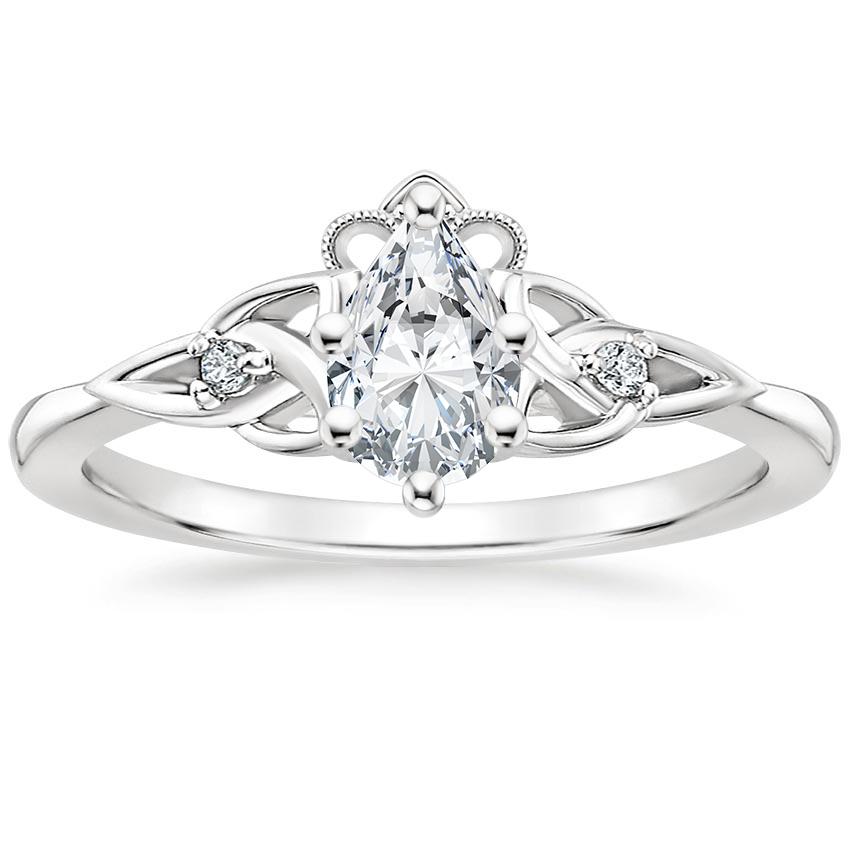18K White Gold Celtic Crown Diamond Ring in 2020 Unique