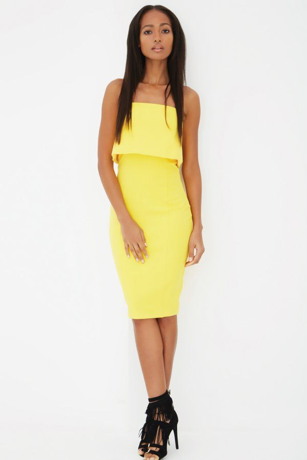 2caba6b2ccd3 Canary Yellow Bandeau Split Back Cropped Midi Dress - from Lavish Alice UK