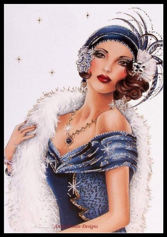 Chart Counted Cross Stitch Patterns Needlework Art Deco Lady 3-1