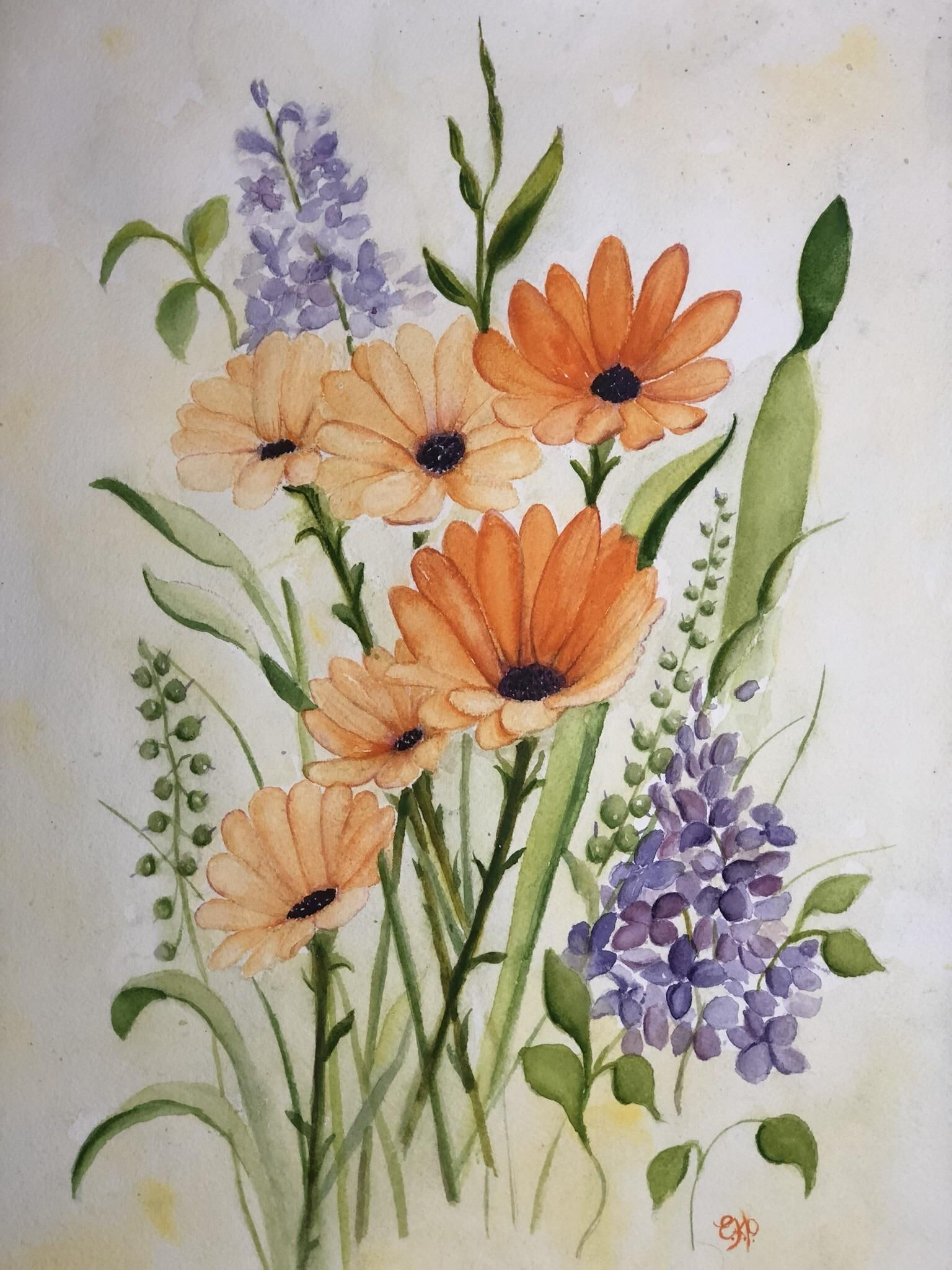 Spring Dreams 11x14 Watercolour Painting By Erin Price Floral