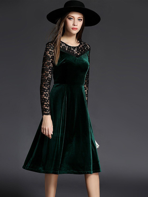 Dark green lace insert velvet midi dress with images