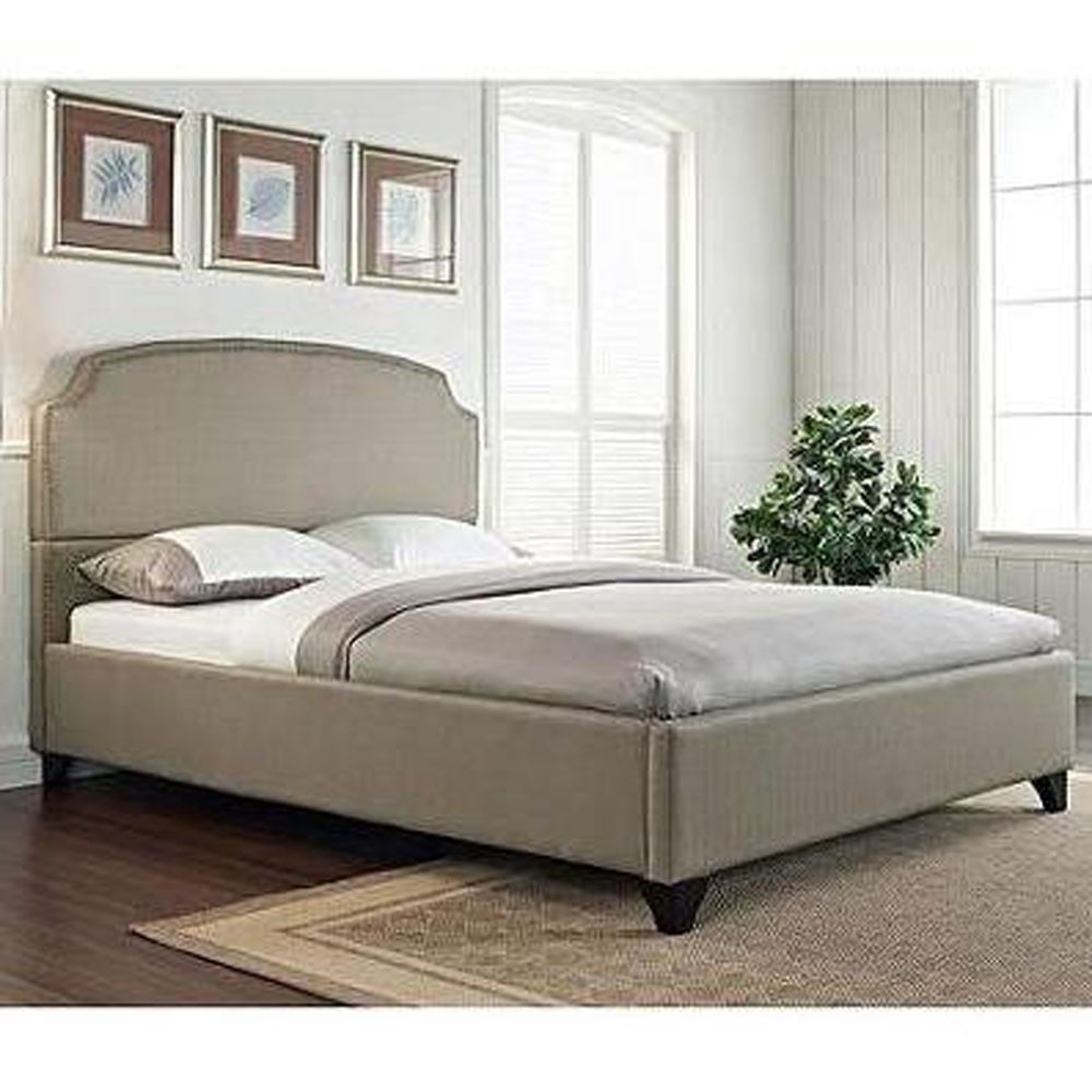 Upholstered Bed Frame Queen Size Headboard Platform Bedroom