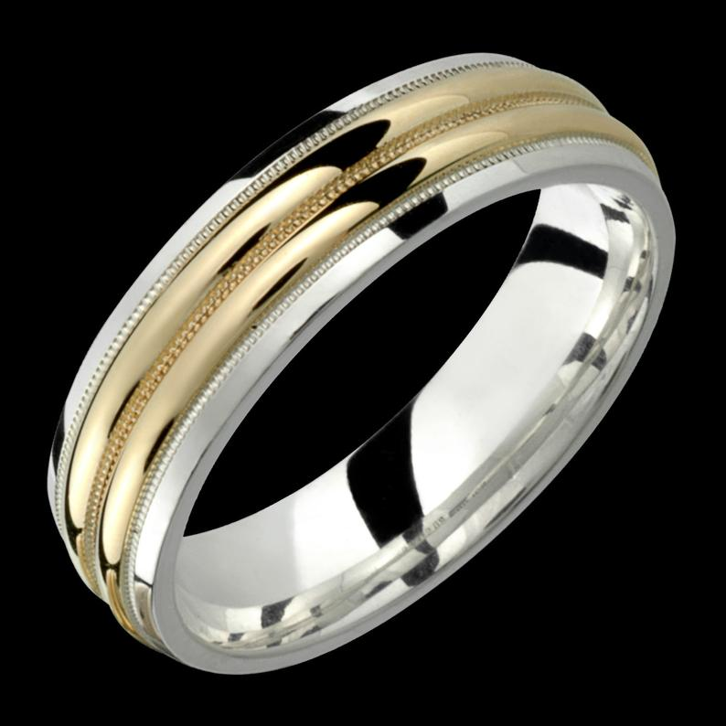 Silver and Gold 6mm Mens Womens TwoTone .925 Sterling