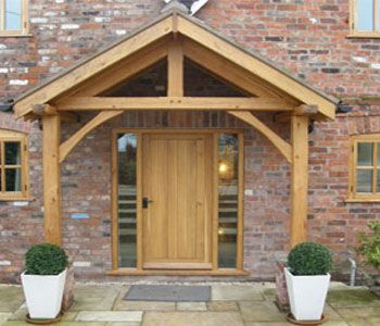 Bespoke green oak porch front door canopy handmade in shropshire : porch canopy designs - memphite.com