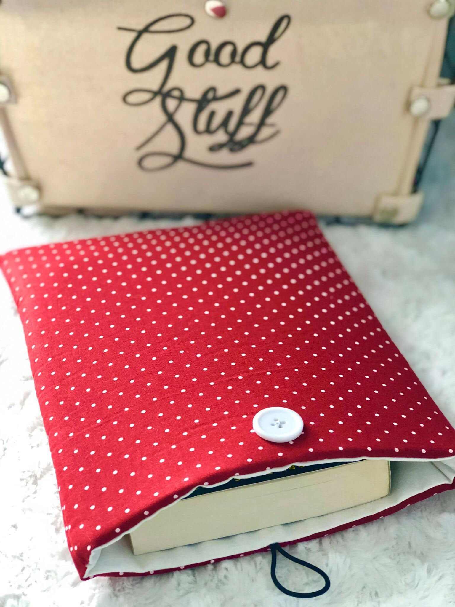 Red and White / Polka Dot / Padded Book Sleeve / Button