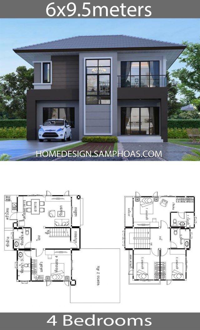 House Ideas 6x9 5m With 4 Bedrooms Construcao De Casas Plantas De Casas Projetos De Casas Terreas