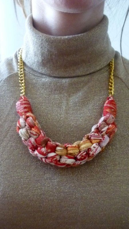 Handmade Straight Knot Fabric Necklace Gold Chain http://www.ebay.com/itm/251319834964