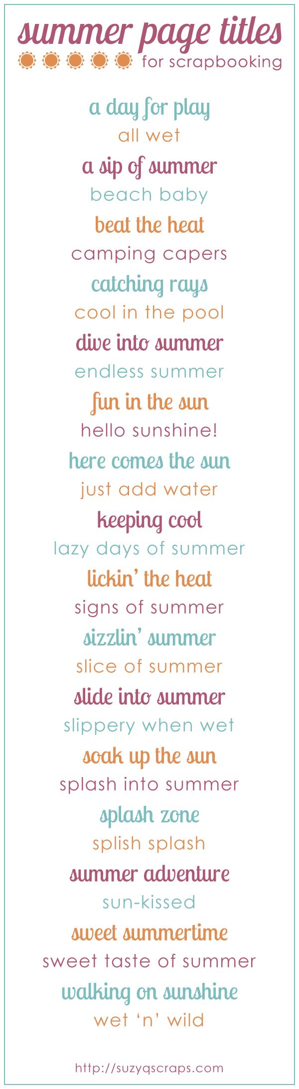 summer scrapbook idea   summer scrapbook page titles More