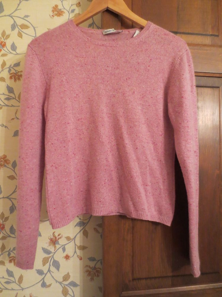 Autumn Cashmere Pink Flecked Luxe Sweater M Spring Scoop Neck Long ...