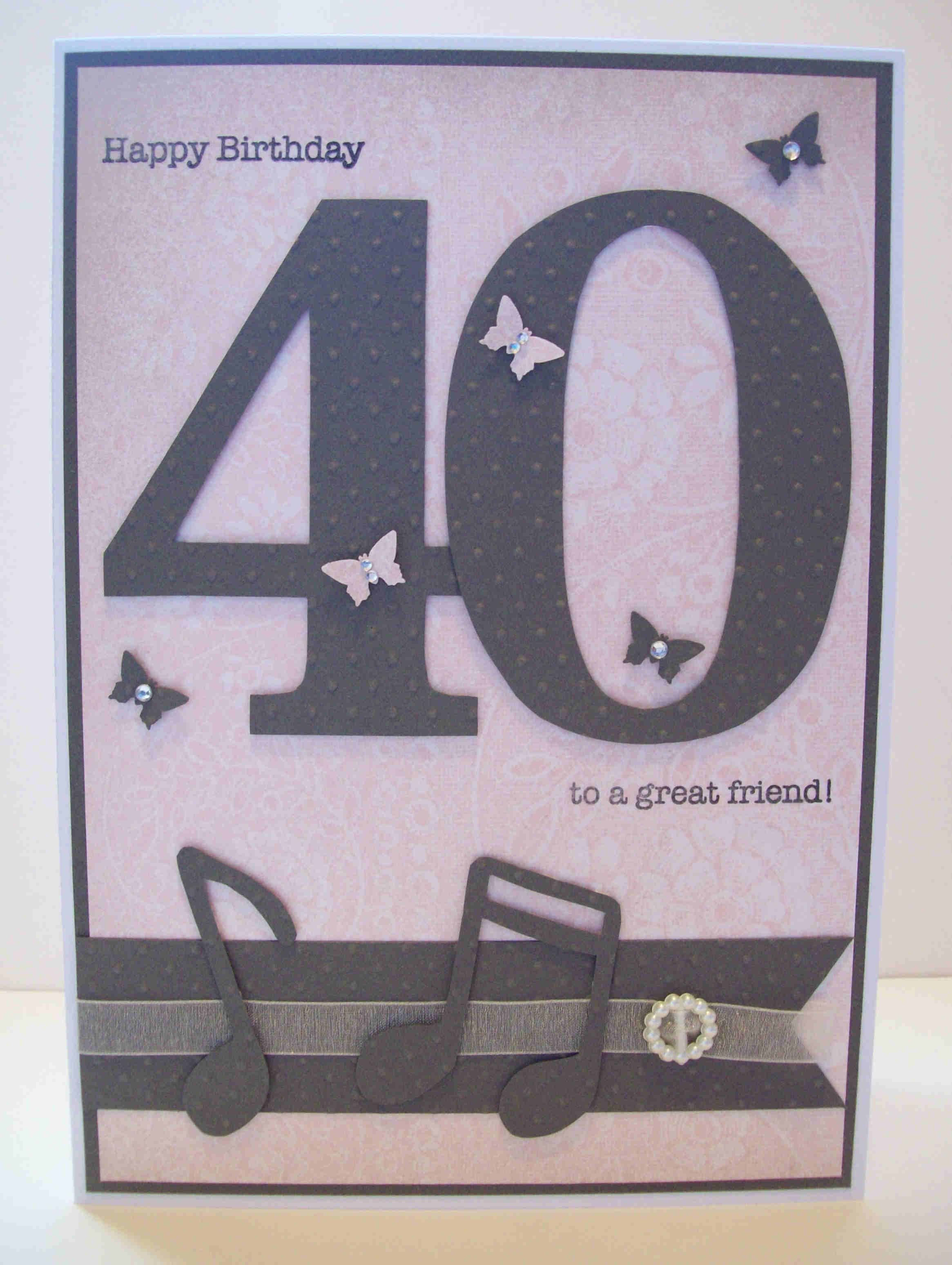 Personalised 40th Birthday Card with Musical Notes and butterflies
