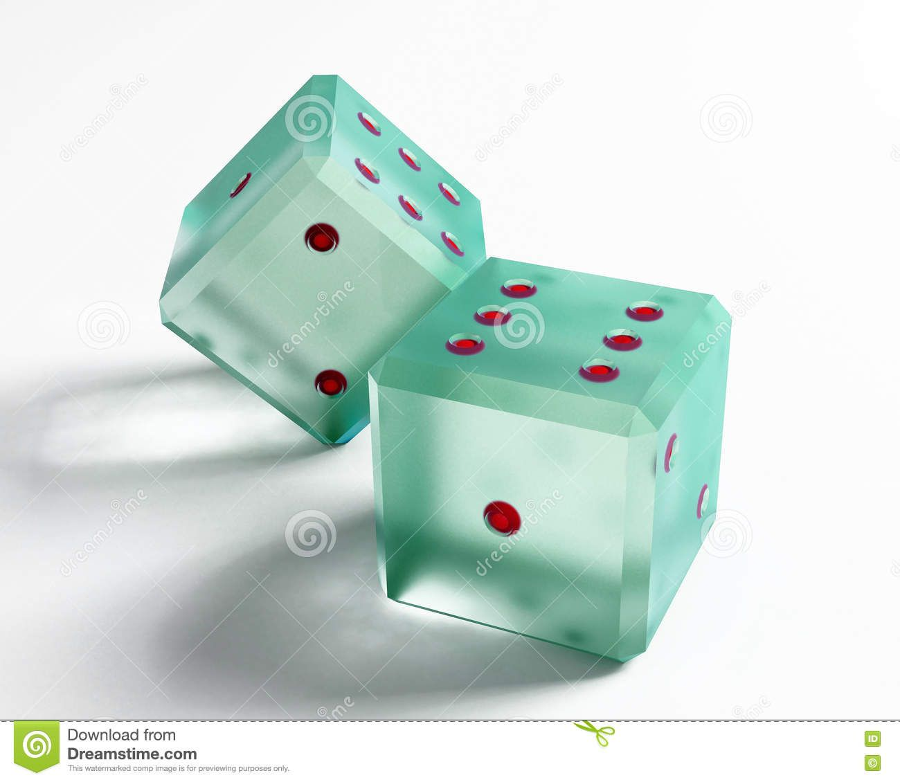 Glass Dice The Glass Dice Over The White Background Card