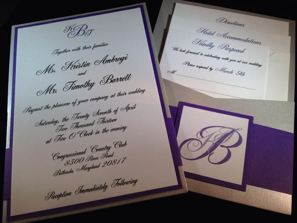 silver purple panel pocket invitation with a monogram bellyband
