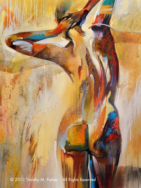 Naakt kunst • abstracte figuur Art • moderne naakt schilderij reproductie TREKSTERKTE • Abstract naakt schilderen Print