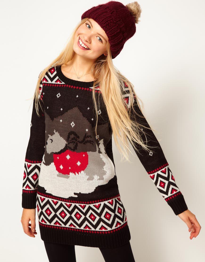 ASOS Christmas Scene Sweater Dress 66.84 Patronen