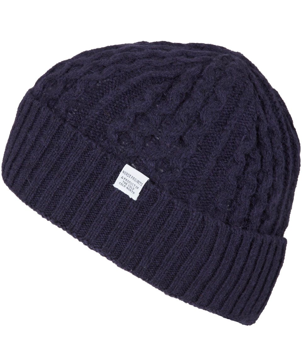 03ffc186ec1 Norse Projects Navy Close Fit Cable Knit Wool Beanie Hat