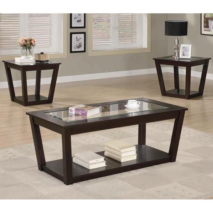 3 Piece Table Set With Glass Inserts Nebraska Furniture Mart