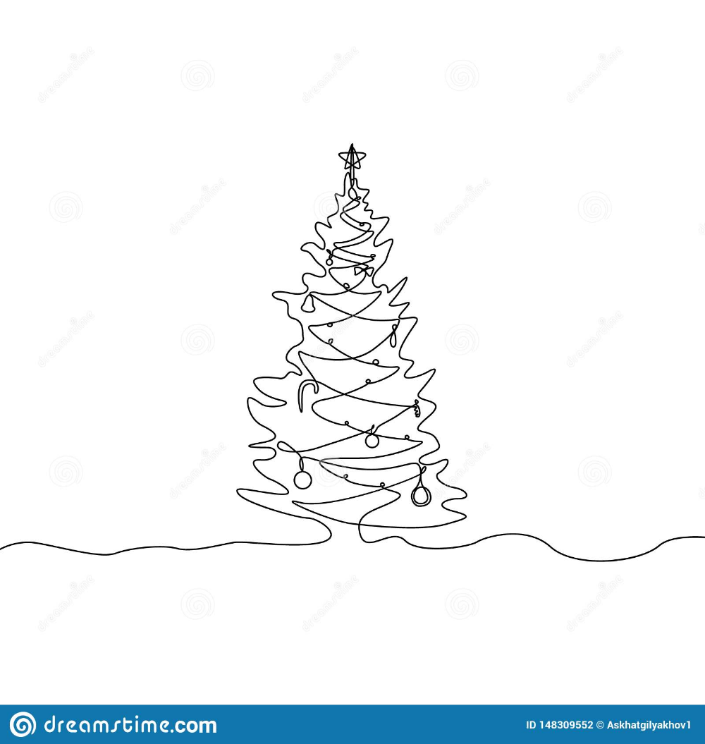 One Line Drawing Christmas Tree In 2020 Tree Line Drawing Christmas Tree Drawing Christmas Card Art