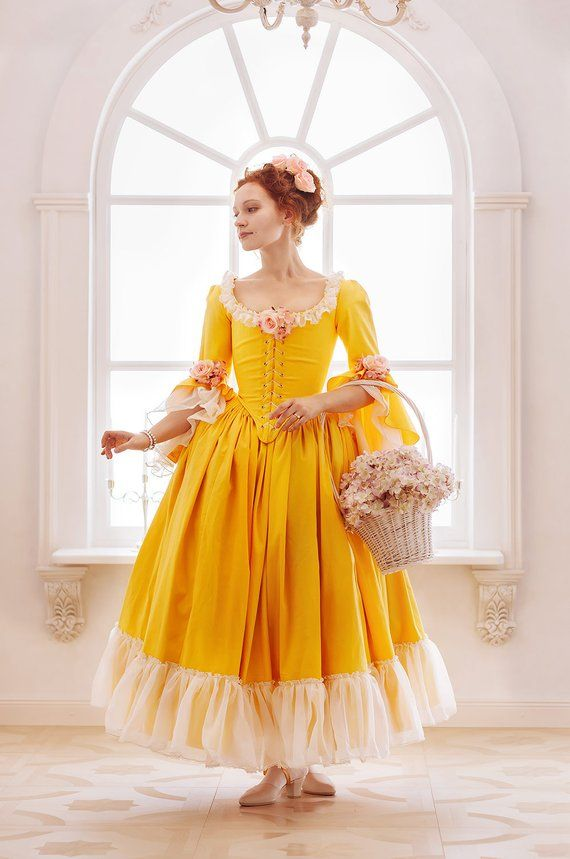 7d7475d8d6b3 Rococo period 18th century yellow flowered dress with underskirt, and built  in bodice corset