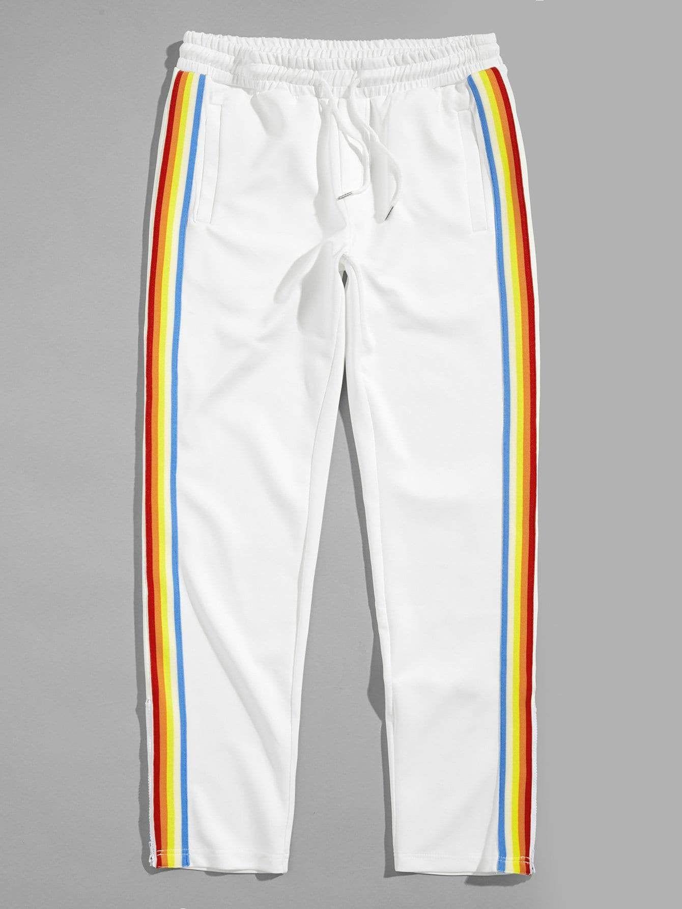 f2b9e185558f Men Rainbow Stripe Tape Side Sweatpants in 2019