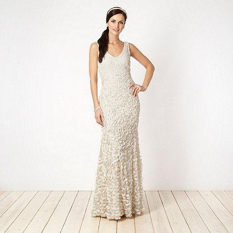 Ben De Lisi Occasionwear Designer Ivory Appliqued Floral Bridal Dress At Debenhams