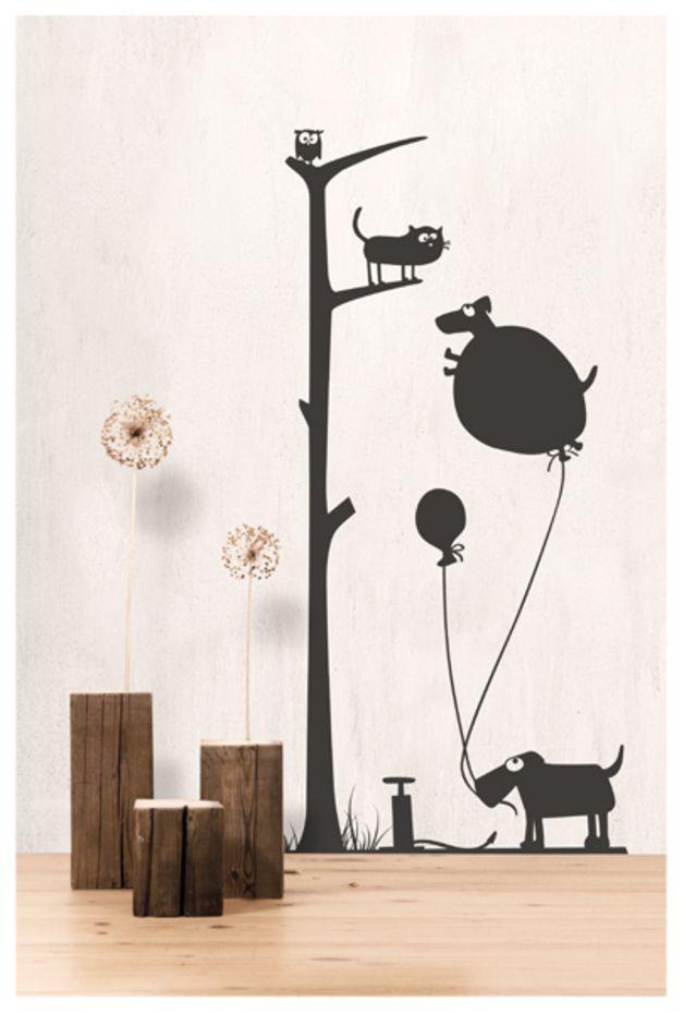 #Wandsticker #Luftballon Mit #Katze Friedegunde, #Hunden Und #Eule  Elfriede. #Wandtattoo