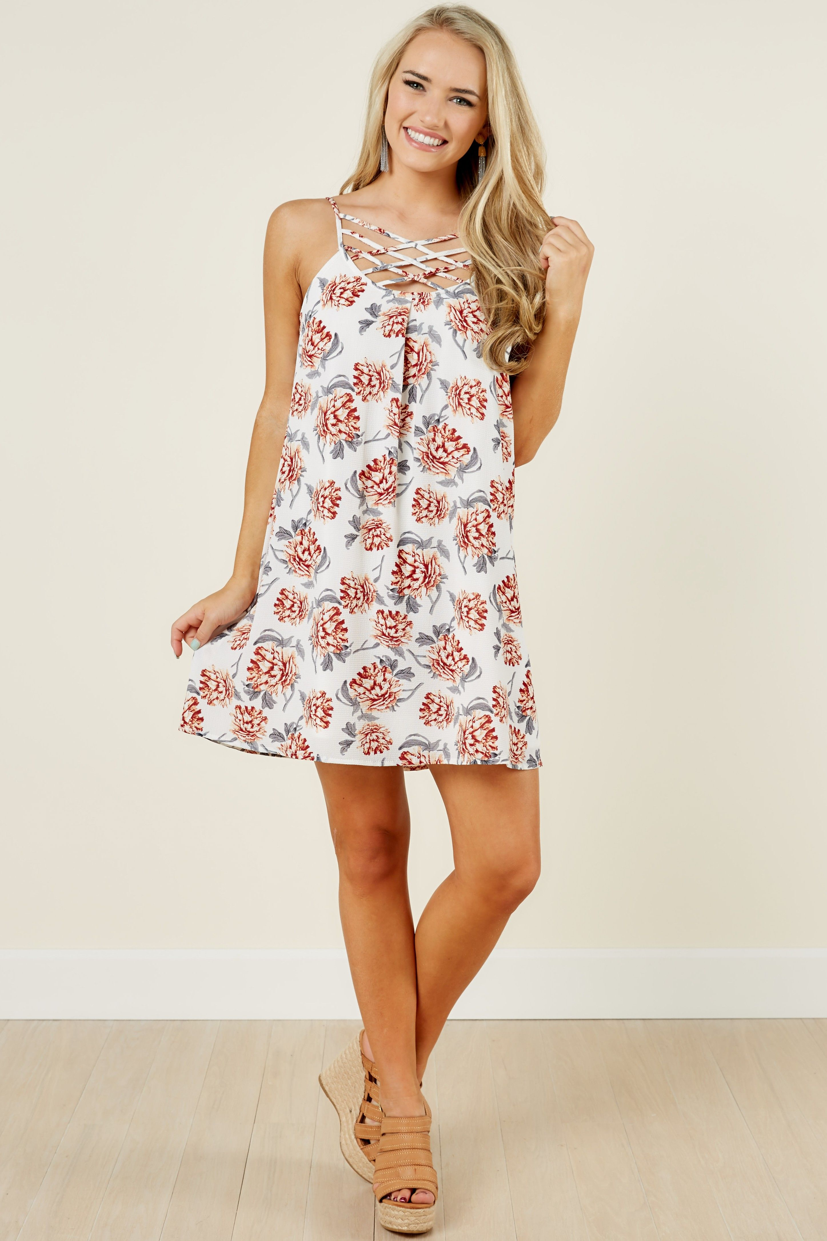 96f1caaeaca Living Breezy Ivory Floral Print Sundress at reddressboutique.com