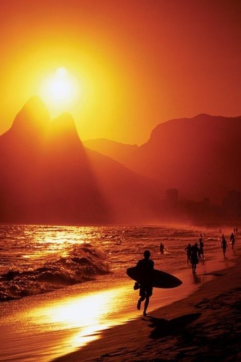 Rio De Janeiro Ipanema Beach Poster Beautiful Sunset Sunset