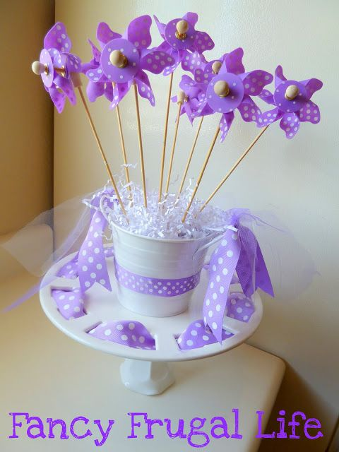 Purple birthday party decorations I love the polka dot pinwheels