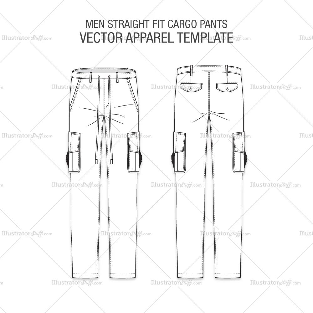 Free Fashion Flat Templates Trim Pack Courses Free Tutorials On Adobe Illustrator Tech Packs Freelancing For Fashion Designers Fashion Flats Cargo Pants Pants Pattern Free