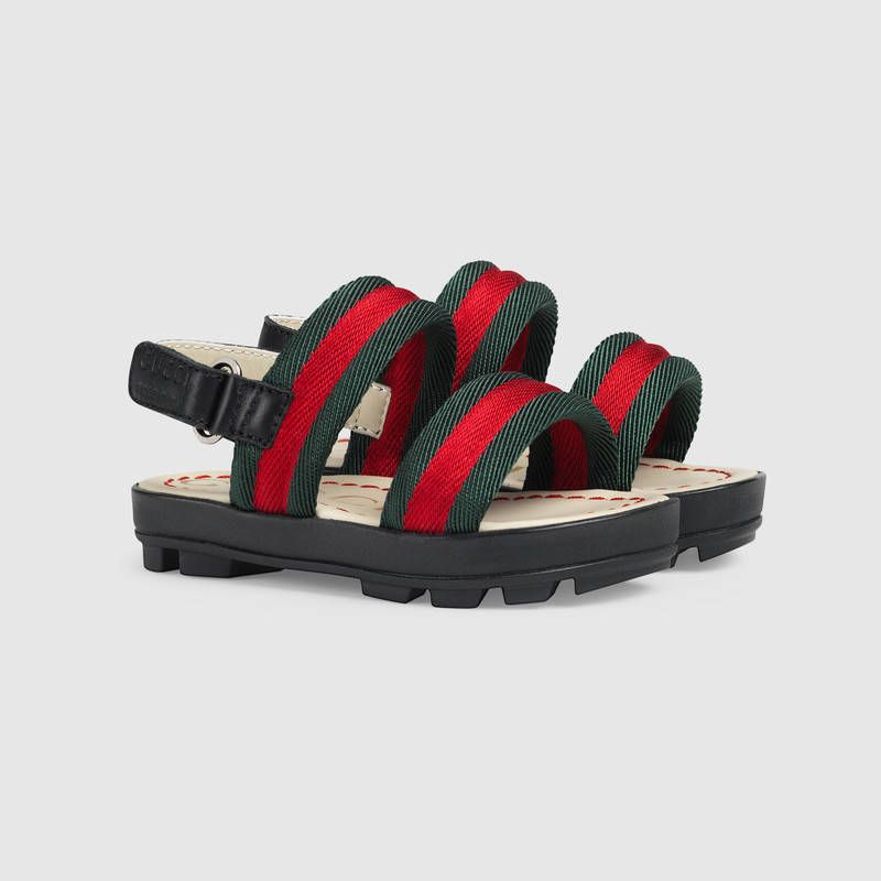 d53b5f1d9 Gucci Toddler leather and Web sandal Detail 2