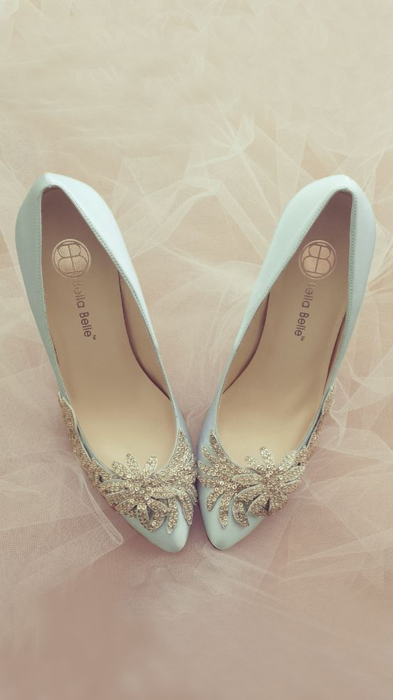782d2eed65497 Stunning bridal shoes | Bridal shoes in powder blue with stone  embellishment | Pretty bridal shoes