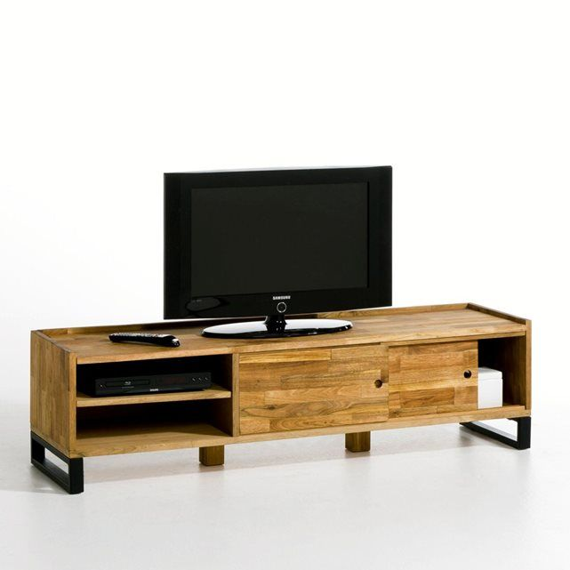 Banc Tv Chene Massif Aboute Et Acier Hiba Mobilier De Salon Meuble Banc Tv