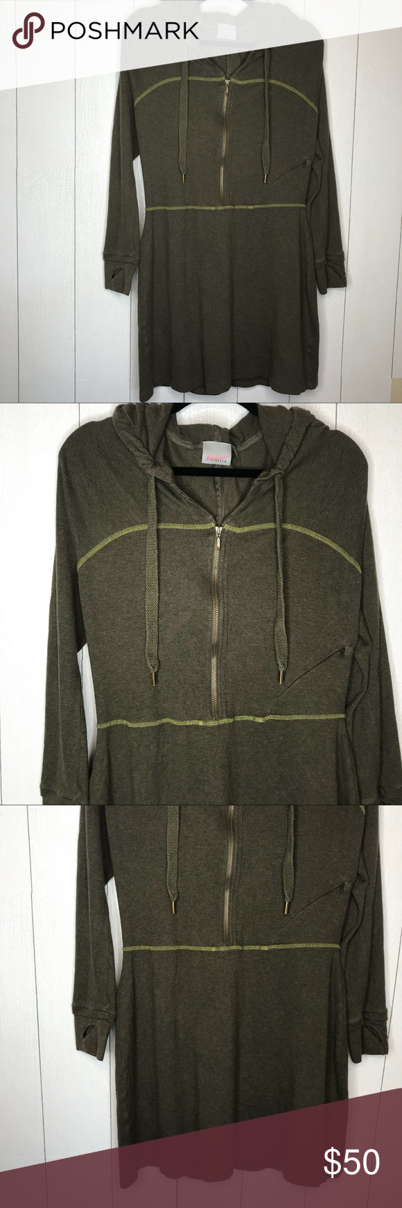 Athleta olive khaki long zip hoodie tunic in my posh closet