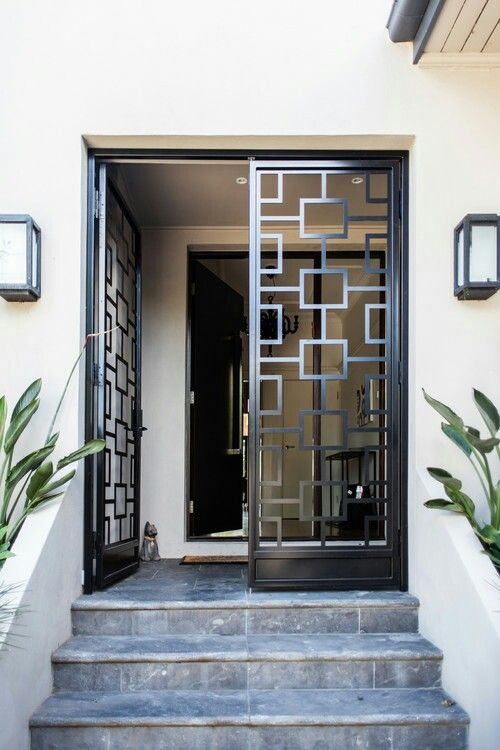 Metal Frame Door In Front Of Foyer Interior Motives Doors Entry