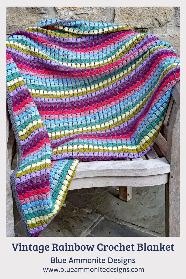 Vintage Rainbow Crochet Blanket Kit Rainbow Crochet Blanket Pattern Crochet Blanket Kit Crochet Blanket
