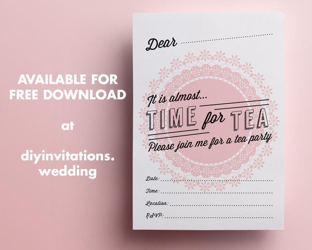 Diy retro s high tea party invitation for bridal shower