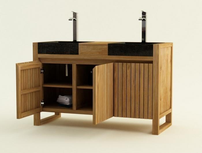 Meuble de salle de bain TERNI L140 cm en teck salle de bain idées
