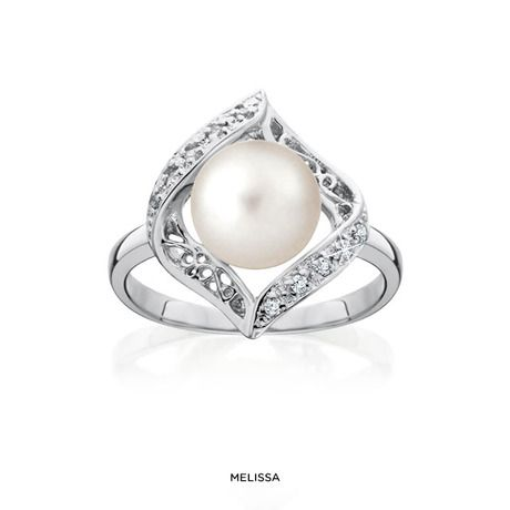 Cultured Freshwater Pearl & CZ Ring in Sterling Silver at 87% Savings off Retail!