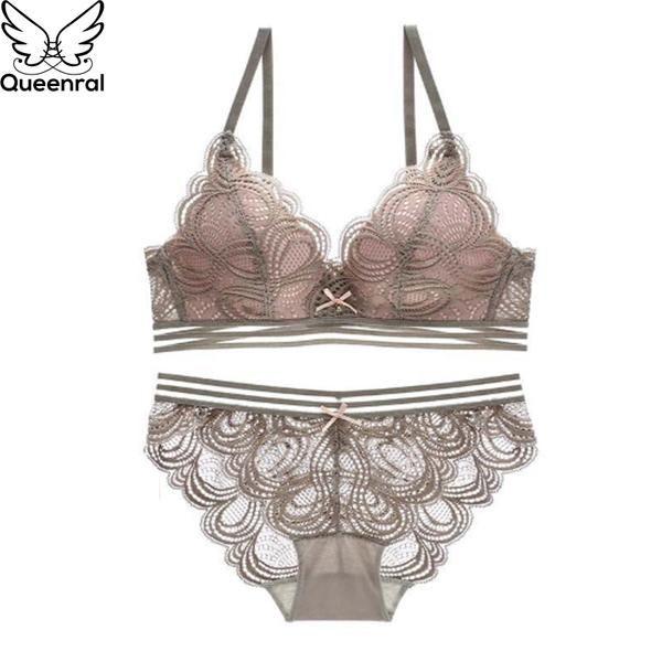Queenral Sexy Lace Bra Set Push Up Underwear Set Lingerie Women Wire Free  Bra Brief Bets 34B Spandex Pink Intimates  Discounts  BestPrice a1734379b