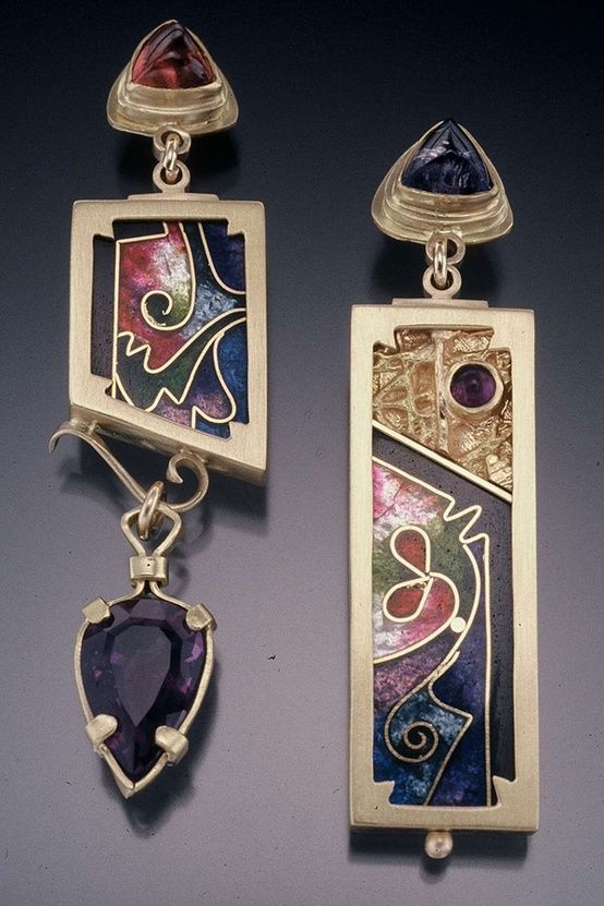 Earrings   James Carter. James is a goldsmith who specializes in cloisonné enameling, one-of-a-kind gold and silver jewelry.