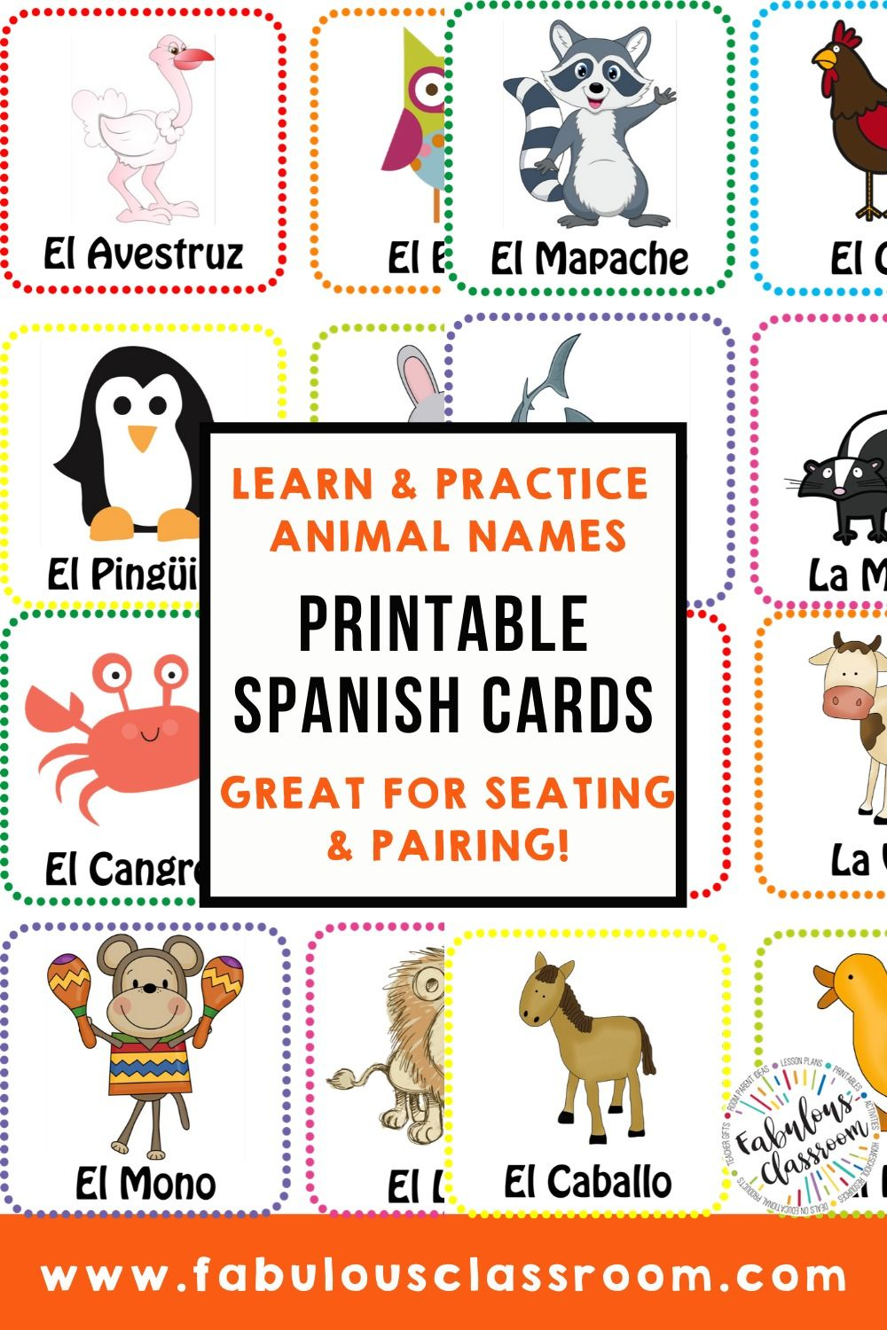 Spanish Animals Printable Flash Cards Distance Learning In 2020 Spanish Animals Learning Spanish Vocabulary Learning Spanish