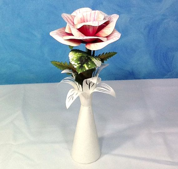 Paper Flower in a Paper Vase by PaperArboretum on Etsy, $48.00