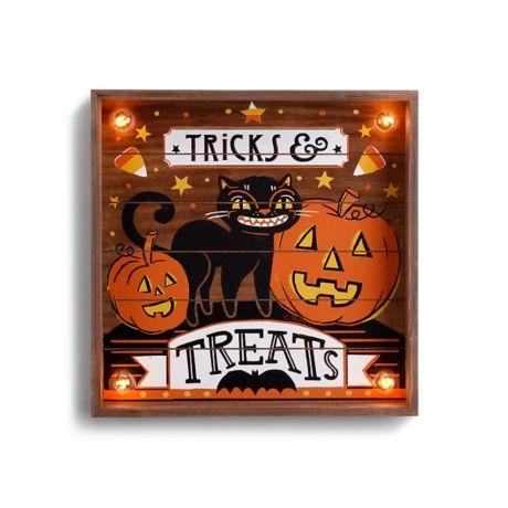 Pre-Lit Square Tricks and Treats Wall Plaque Halloween 365 - bulk halloween decorations