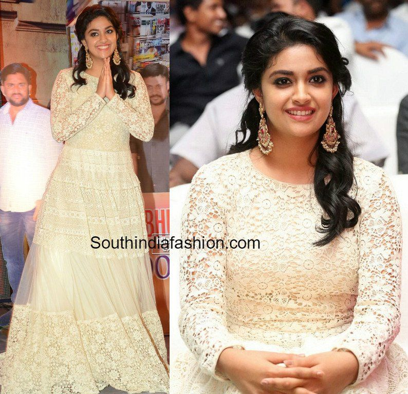 Keerthy Suresh at Rail Audio Launch | Pinterest | Audio, White lace ...