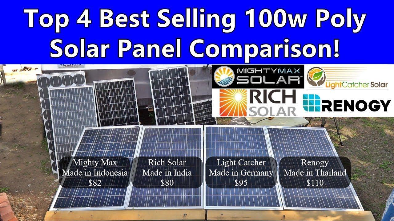 100w Polycrystalline 12v Solar Panel Showdown Renogy Vs Rich Vs Lightcatcher Vs Mightymax Youtube In 2020 12v Solar Panel Solar Solar Panels